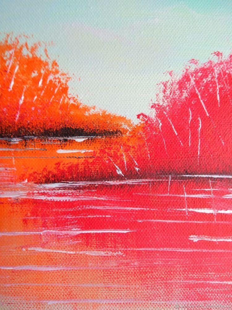 картина акрилом пейзаж, купить недорого картину, подарок для мамы, подарок девушке, купить недорого картину акрилом, синий, оранжевый, картина ручной работы