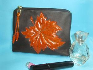 Шьем кожаную косметичку «Осенний листопад». Ярмарка Мастеров - ручная работа, handmade.