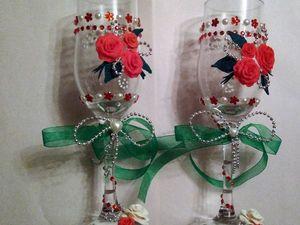 Мастер-класс по оформлению свадебных бокалов. Ярмарка Мастеров - ручная работа, handmade.