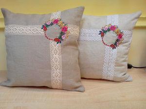 Декоративные подушки из льняной ткани. Ярмарка Мастеров - ручная работа, handmade.