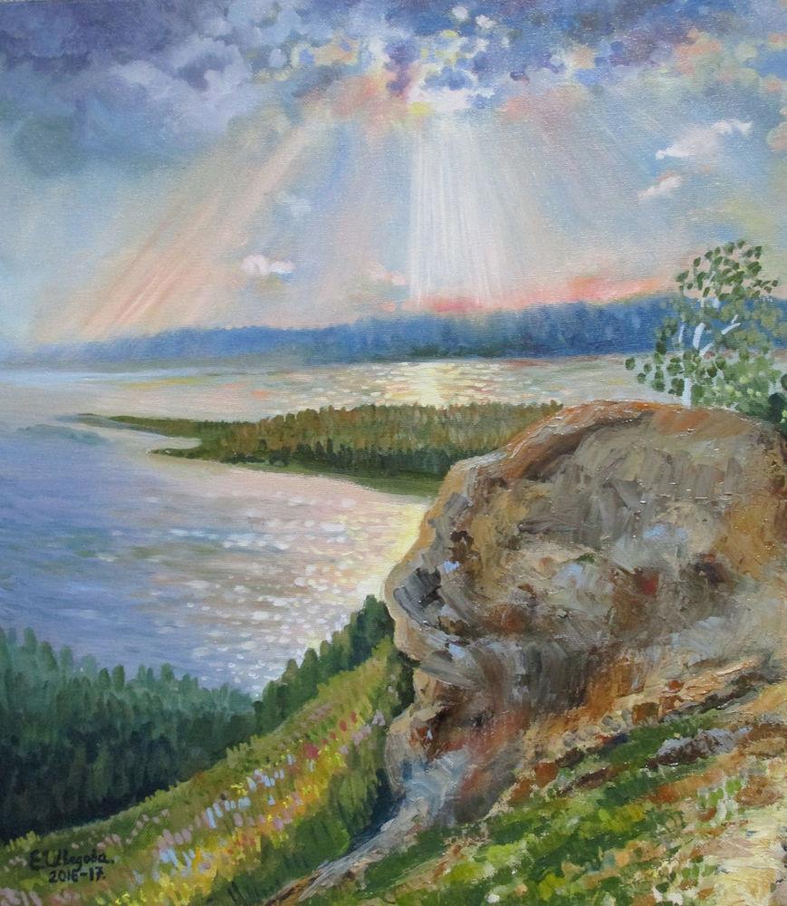 картина маслом пейзаж, картина для интерьера, солнце