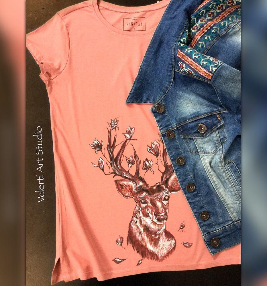 акция, акция одного дня, скидка, футболки, футболка с росписью, хлопок, грязно-розовый, олень, для девушек, для женщин