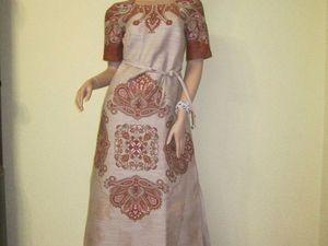 Платье с орнаментом из льна. Ярмарка Мастеров - ручная работа, handmade.