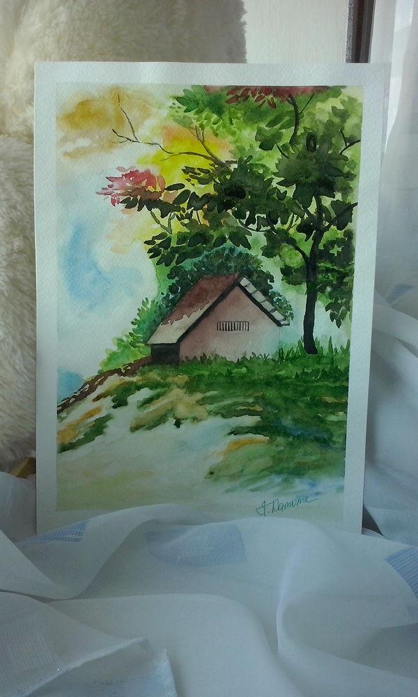 акварель, картина акварелью, домик в лесу, осень, лес, домик, картины и панно, картины для интерьера, картины для дома, дом в лесу, акварель купить, купить картину, пейзаж, природа, подарок, осенний пейзаж