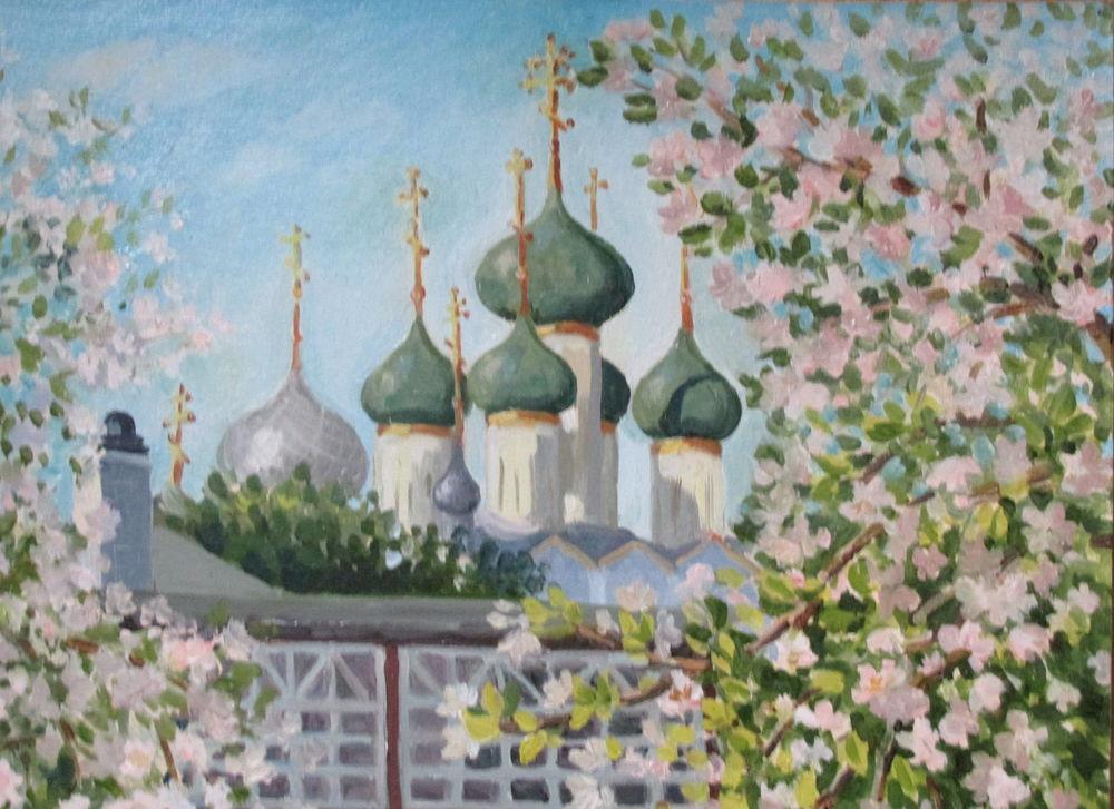 картина для интерьера, пейзаж маслом, церковь, яблоневый цвет, май, картина в интерьер