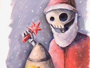 Творческий ежедневник. День 10. Этюд «Ядерный Новый год». Ярмарка Мастеров - ручная работа, handmade.