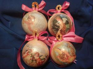 Создем елочные шары с ангелочками из гипса в ретро стиле. Ярмарка Мастеров - ручная работа, handmade.