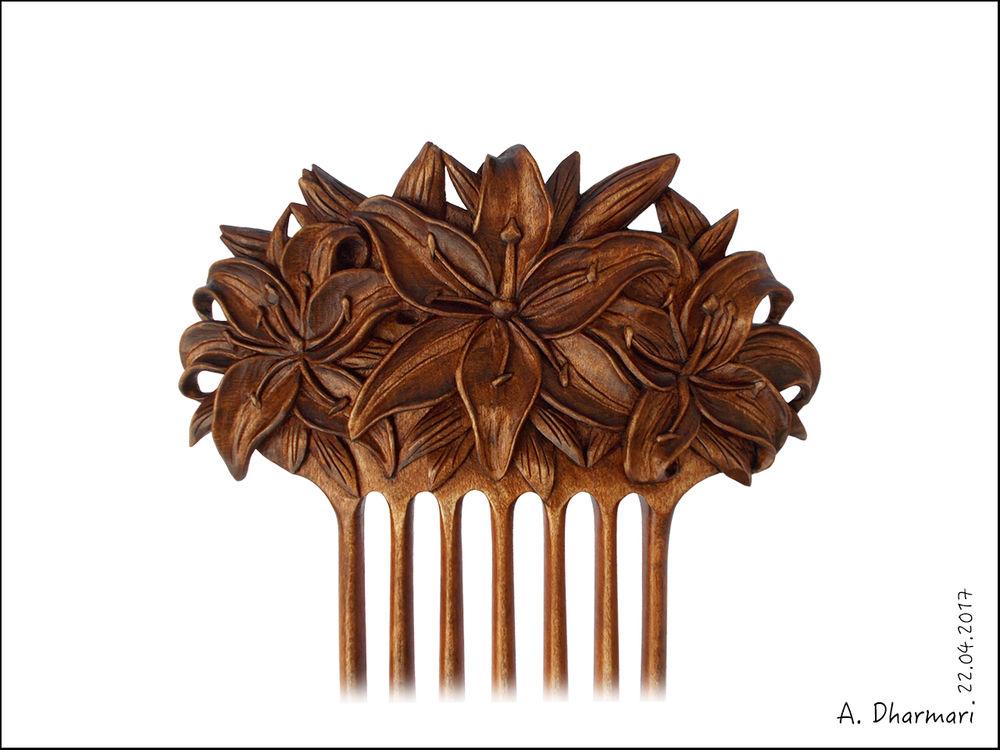 гребень для волос, цветы, резьба по дереву, полезный подарок