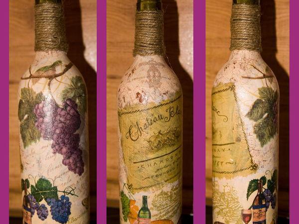 Подарок любимым. Декор праздничной бутылки в технике декупаж. | Ярмарка Мастеров - ручная работа, handmade