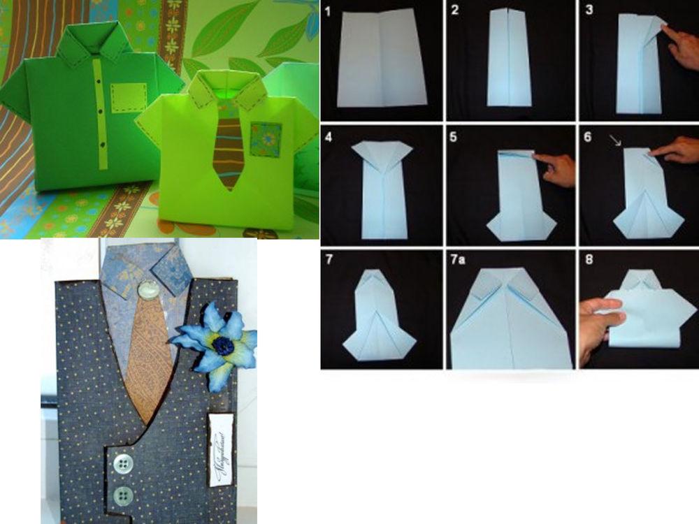 Как завернуть подарок мужчине в виде рубашки 61