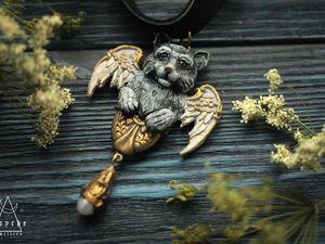 "Чокер Angel cat ""Кот ангел"". Ярмарка Мастеров - ручная работа, handmade."