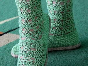 Новая работа — вязаные женские сапожки. Ярмарка Мастеров - ручная работа, handmade.