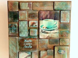 Онлайн мастер-класс панно-коллаж «Приглашение на кофе» в стиле Микс Медиа | Ярмарка Мастеров - ручная работа, handmade