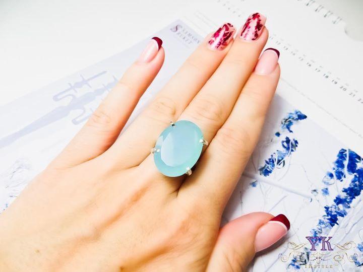 Серебряное кольцо с натуральным халцедоном.