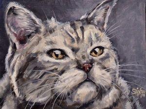 День 84. Картина маслом  «Серый кот». Ярмарка Мастеров - ручная работа, handmade.