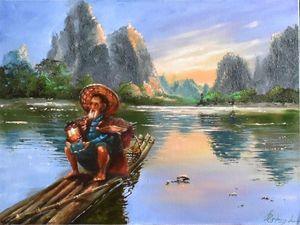 Рисуем китайский пейзаж масляными красками. Ярмарка Мастеров - ручная работа, handmade.