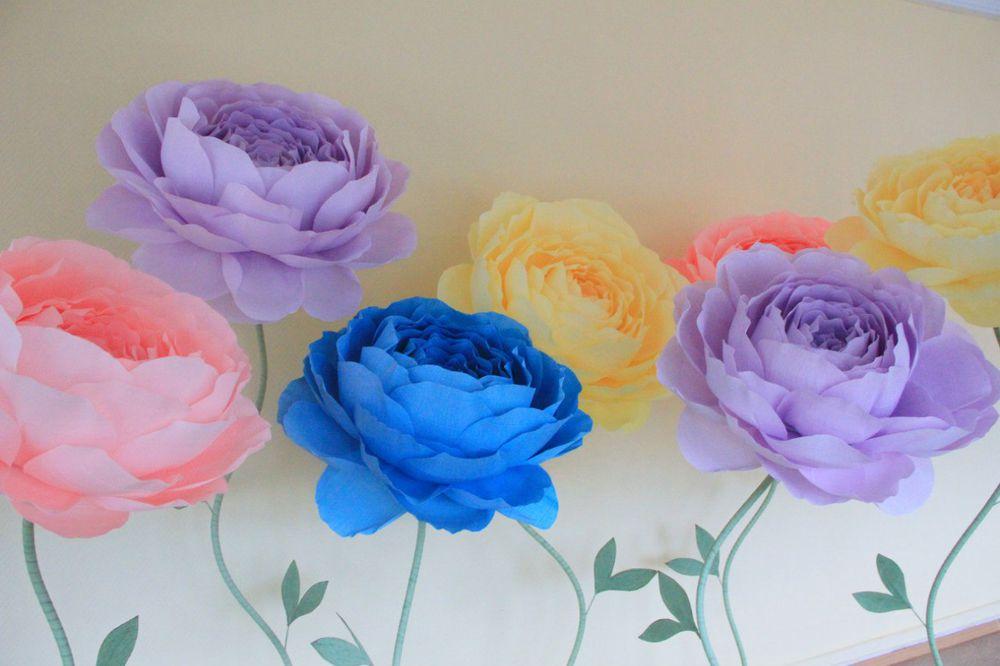 цветы из бумаги, цветы на свадьбу, гофрированная бумага
