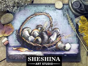 Видеоурок: рисуем корзину с грибами сухой пастелью. Ярмарка Мастеров - ручная работа, handmade.