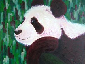 Новая картина! «Винный панда». Ярмарка Мастеров - ручная работа, handmade.