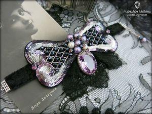 """""""Лиловый негр"""": брошь-браслет, ручная вышивка. Ярмарка Мастеров - ручная работа, handmade."""