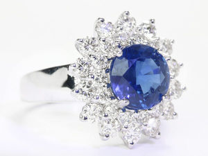 Достойное золотое кольцо с синим сапфиром и бриллиантами от JR. Ярмарка Мастеров - ручная работа, handmade.