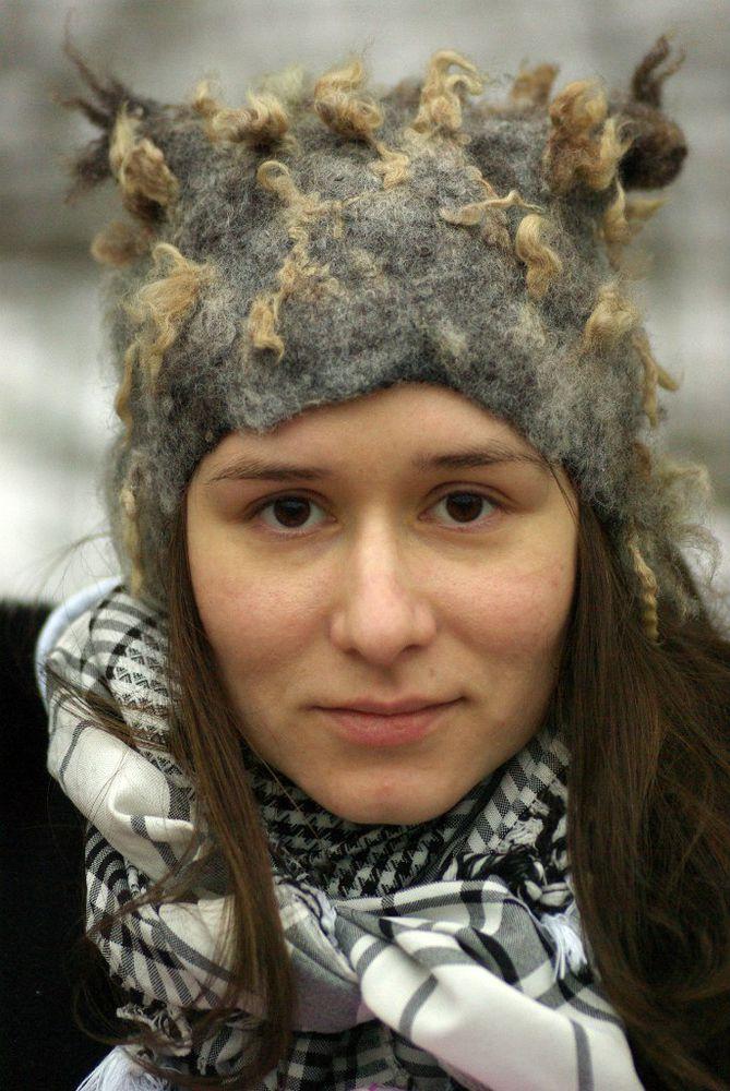 валяная шапка, шапка с ушками
