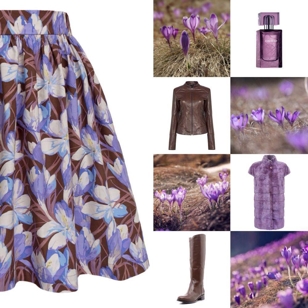 весна, крокус, юбка, короткая юбка, мини юбка, сиреневый, цветы