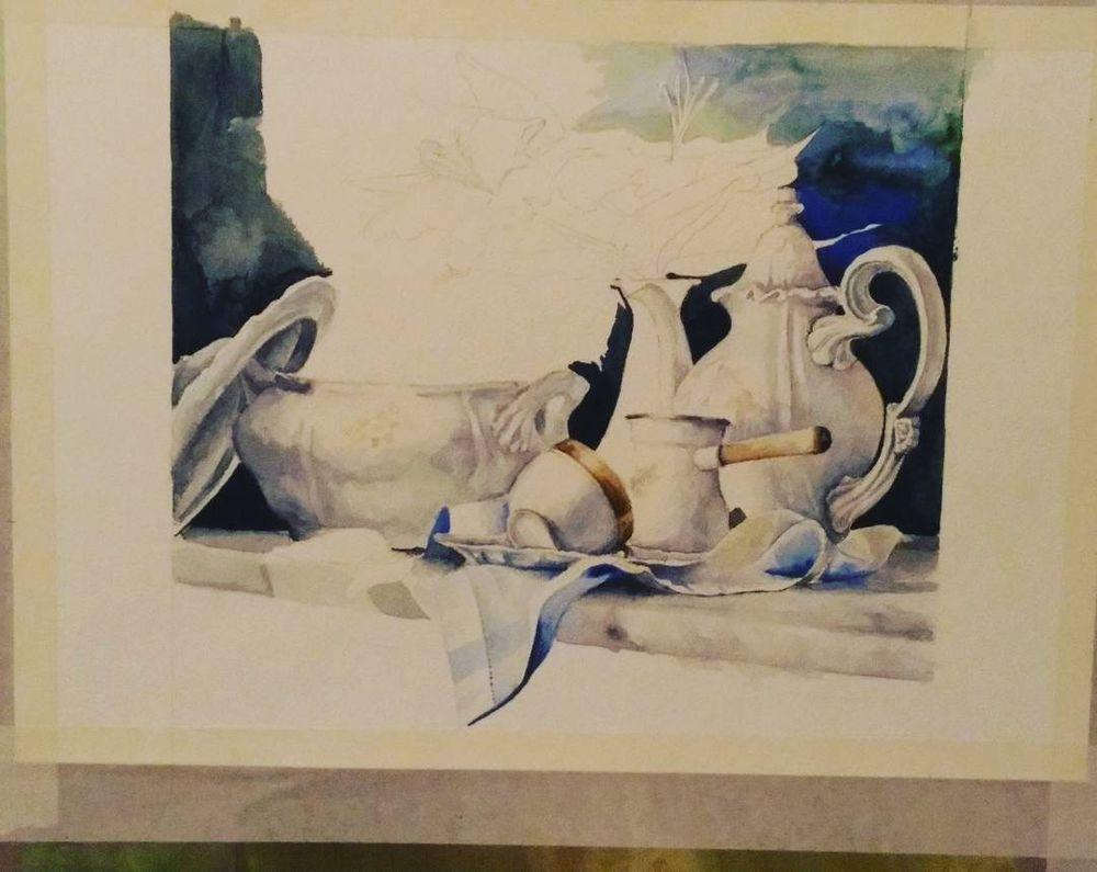 акварельная живопись, белый, натюрморт с цветами, натюрморт акварелью