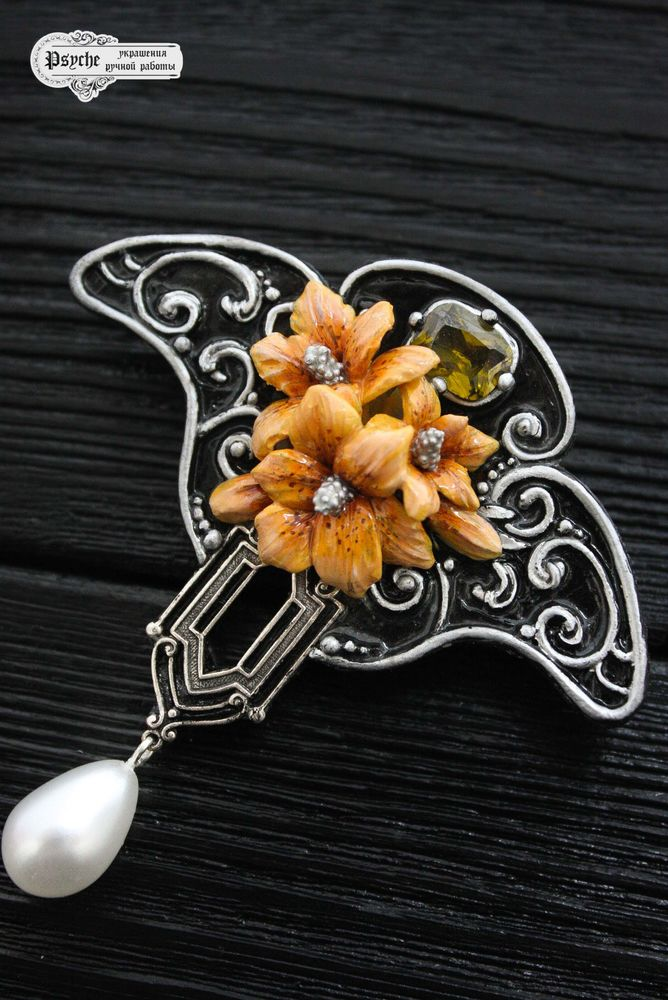 брошь-цветок, серебряный