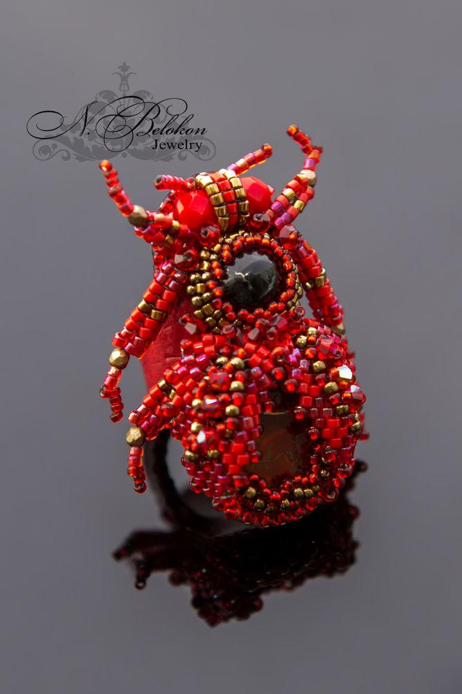 Огненный аммолитовый жучок колечко, фото № 10