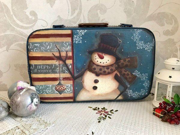 Переделываем старый чемодан в новогодний чемодан для елочных игрушек   Ярмарка  Мастеров - ручная работа, 7be14ad2ec8