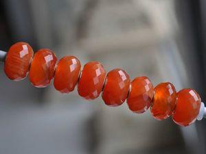 Натуральный тонированный апельсиновый агат для Pandora и Trollbeads в наличии. Ярмарка Мастеров - ручная работа, handmade.