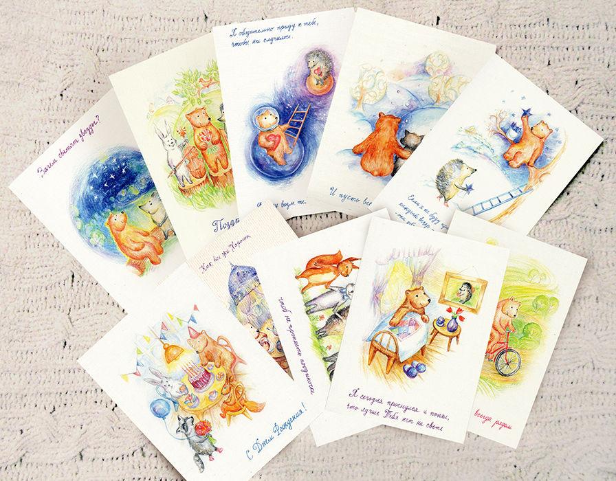 с днем рождения, кружки, красный, зеленый, енот, заяц, медведь, открытки, милый подарок, яркие цвета