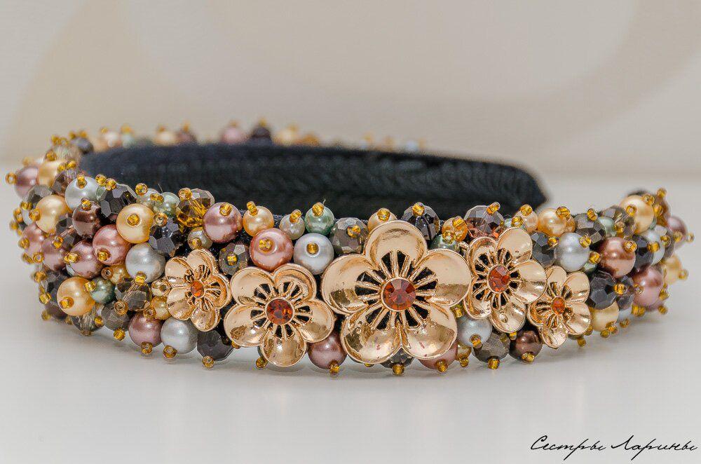 цветочки, корона в стиле дольче, ободок расшитый бусинами