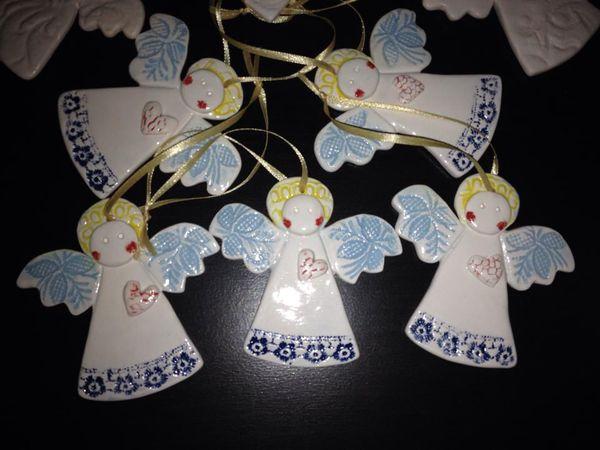 Рождественские ангелы из глины! и другие елочные игрушки | Ярмарка Мастеров - ручная работа, handmade