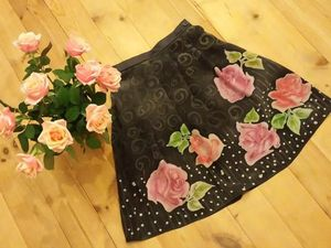 Шелковая юбка с розами | Ярмарка Мастеров - ручная работа, handmade