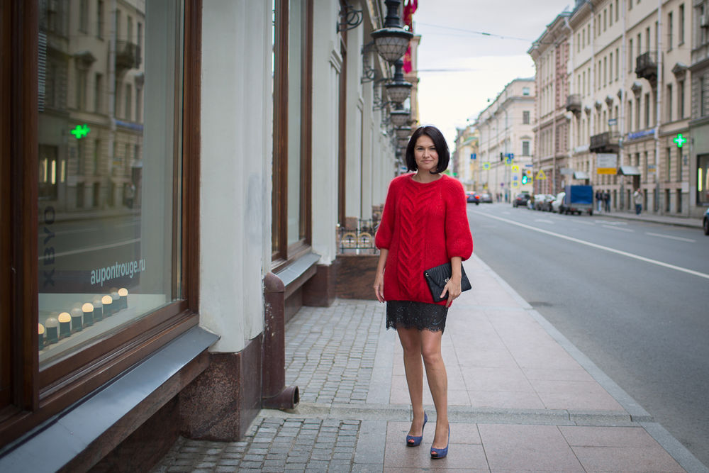 красный свитер, fashion