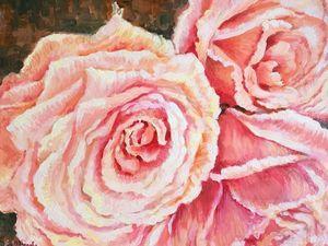 Розовые грезы — новая картина маслом.. Ярмарка Мастеров - ручная работа, handmade.