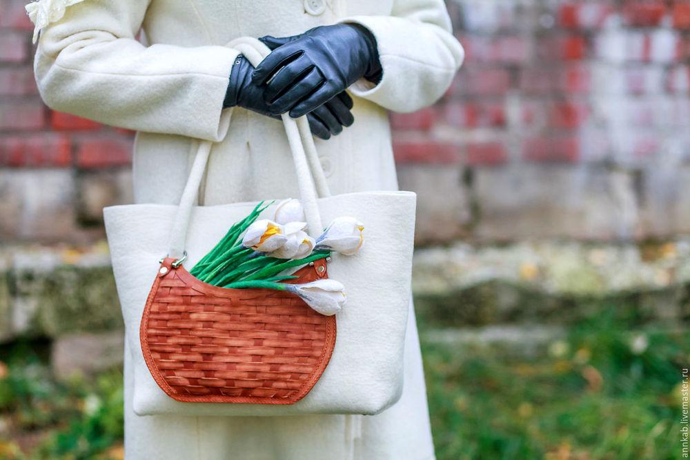 сумка женская, шерсти клок, валяние, мастер-класс по валянию