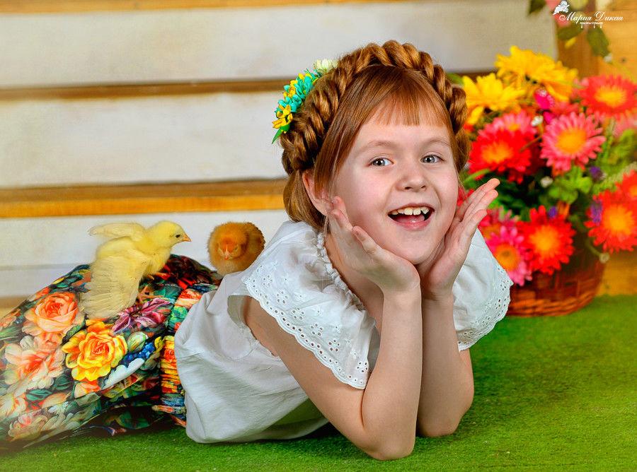 пасха, праздник, весна, радость, дочка, счастье, дети, ребенок, цыплята