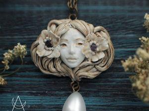 Адель. Кулон из полимерной глины. Кулон с камнем аметист. Ярмарка Мастеров - ручная работа, handmade.