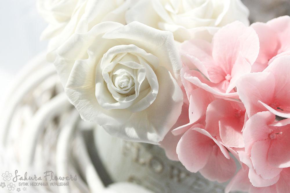 полимерная глина, свадебный букет, цветы ручной работы, белый, стиль, shabby