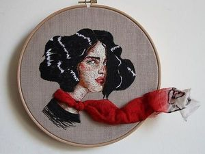 Satin Stitch Illustrations: Amazing Portraits by Ezgi Pamir. Livemaster - handmade