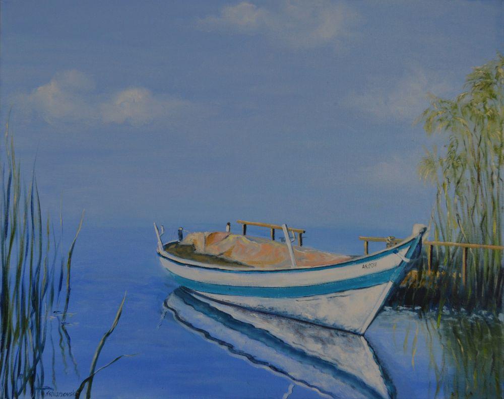 анна кшановская-орлова, картина, лодка, тихая гавань, озеро, холст на подрамнике, масляная живопись, камыш, картина маслом, отпуск