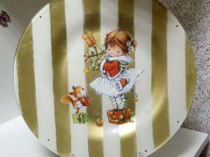 «Полосатая Тарелка» обратный декупаж с кракелюром СКИДКА! | Ярмарка Мастеров - ручная работа, handmade