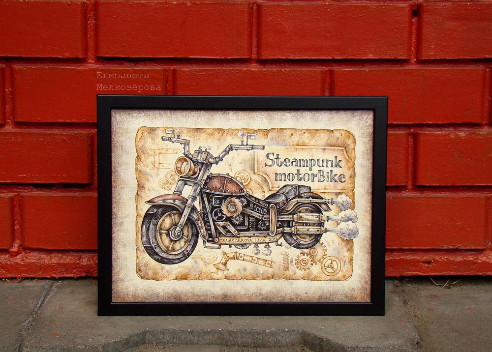 байк байкер мотоцикл, железо металл механизмы, лофт кирпичный бордо, графика рисунок, харлей дэвидсон