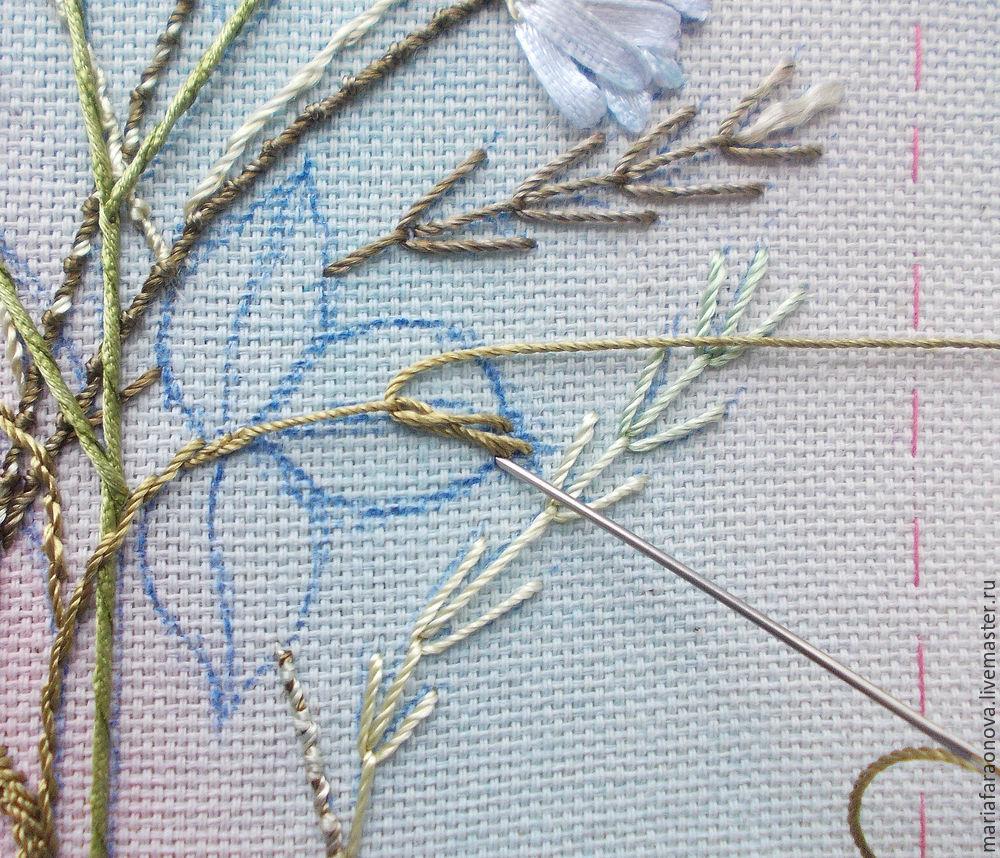 вышивка ромашки лентами