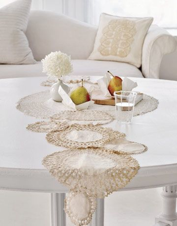 doilies as a table runner