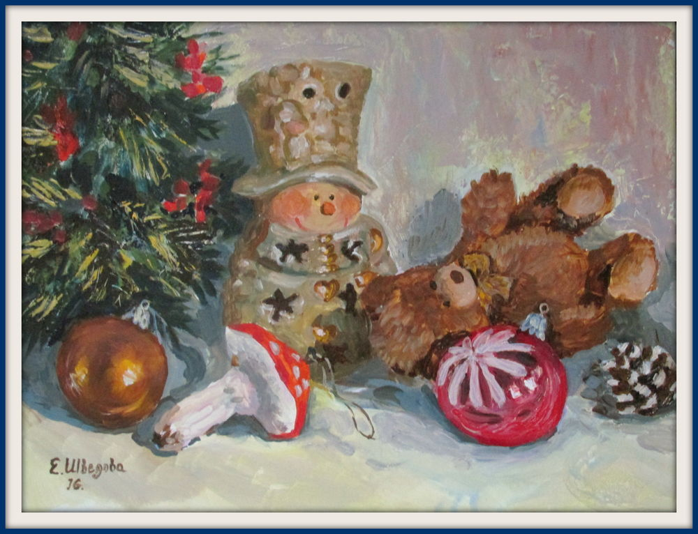 рождественская картина, картина ручной работы