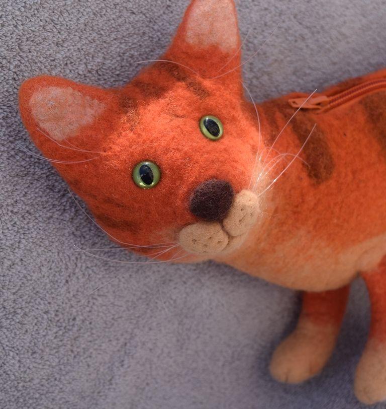кот, игрушка-кот, рыжий кот, оригинальная сумка, забавный кот, мокрое валяние handmade, подарок детям